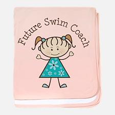 Future Swim Coach Girl baby blanket