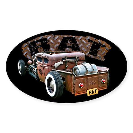 Rat Rod Truck Sticker (Oval)