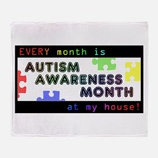 Every Month Autism Aware Throw Blanket
