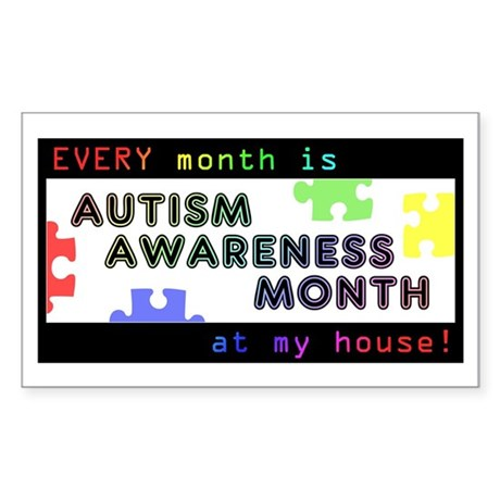 Every Month Autism Aware Sticker (Rectangle 10 pk)