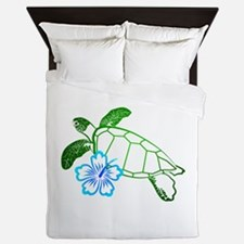 Sea Turtle Hibiscus Blue Queen Duvet