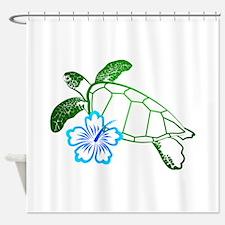 Sea Turtle Hibiscus Blue Shower Curtain