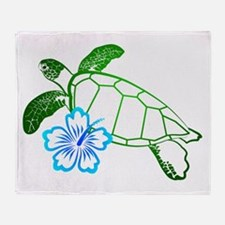 Sea Turtle Hibiscus Blue Throw Blanket