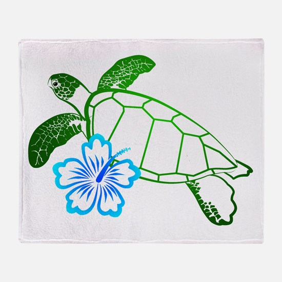 Sea Turtle Hibiscus Blue Throw Blanket