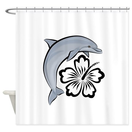 Dolphin Hibiscus Shower Curtain