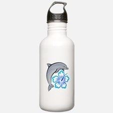 Dolphin Hibiscus Blue Water Bottle