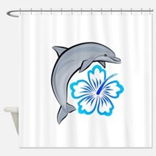 Dolphin Hibiscus Blue Shower Curtain