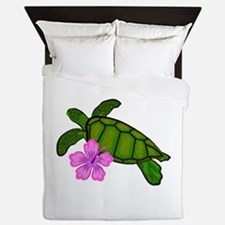 Colored Sea Turtle Hibiscus Queen Duvet