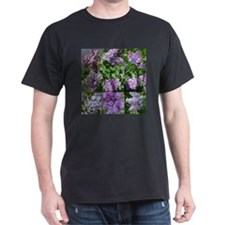 Lilac Collage #16 Black T-Shirt