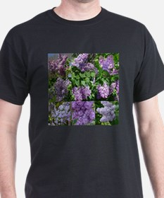 Lilac Collage #16 Black T-Shirt