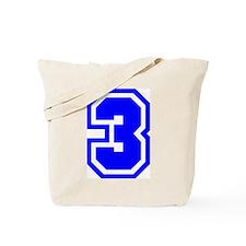 Varsity Uniform Number 3 (Blue) Tote Bag