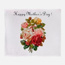 """""""Mother's Day Roses"""" Throw Blanket"""