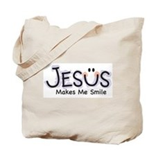 Jesus Makes Me Smile: Tote Bag