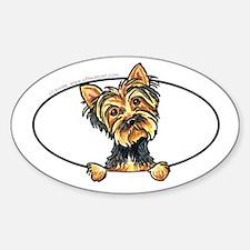 Yorkshire Terrier Yorkie Peeking Bumper Decal