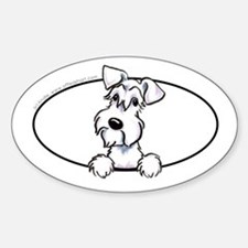 White Schnauzer Peeking Bumper Decal