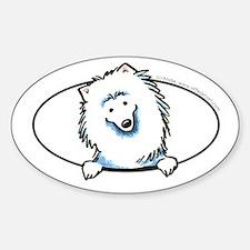 American Eskimo Dog Eskie Peeking Bumper Decal