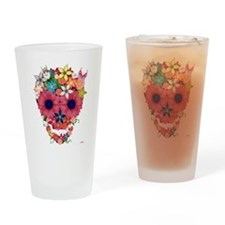 Skull Flowers by WAM Drinking Glass