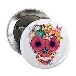 "Skull Flowers by WAM 2.25"" Button"