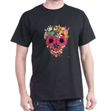 Skull Flowers by WAM T-Shirt