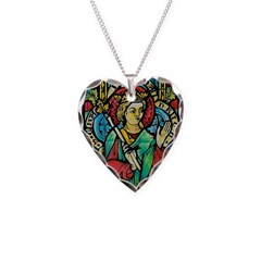 Stained Glass Queen Heart-Shaped Necklace