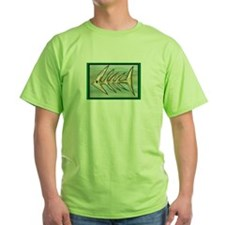 """""""Fish Fossil"""" by Peggy Paola green tee shirt"""