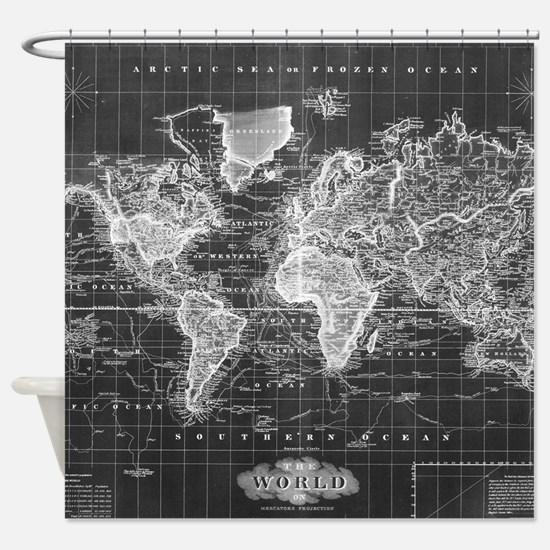 Vintage Map of The World (1833) Bla Shower Curtain