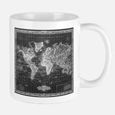 Vintage Map of The World (1833) Black & White Mugs