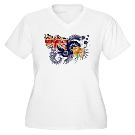 Turks and Caicos Flag Women's Plus Size V-Neck T-S