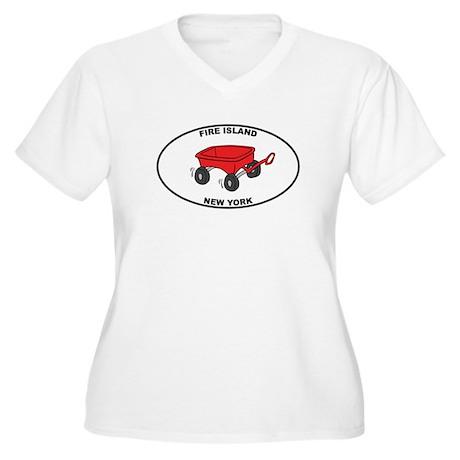 Fire Island Wagon Women's Plus Size V-Neck T-Shirt