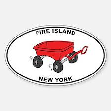 Fire Island Wagon Sticker (Oval)