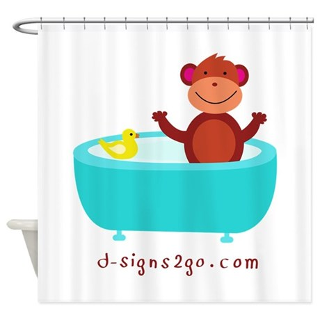 Monkey With Rubber Duck Shower Curtain By Dmonkeyshop