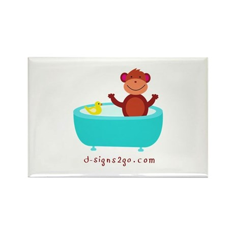 Monkey with Rubber Duck Rectangle Magnet (100 pack