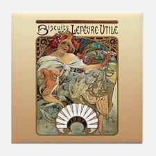 Alphonse Mucha Biscuits Lefevre Utile Tile Coaster