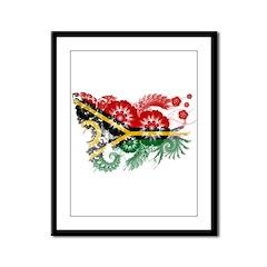 Vanuatu Flag Framed Panel Print