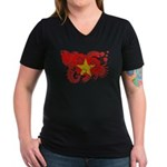 Vietnam Flag Women's V-Neck Dark T-Shirt