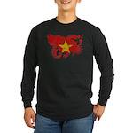 Vietnam Flag Long Sleeve Dark T-Shirt