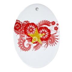 Vietnam Flag Ornament (Oval)