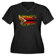 Zimbabwe Flag Women's Plus Size V-Neck Dark T-Shir