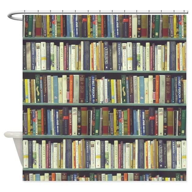 Book Shelves Shower Curtains | Book Shelves Fabric Shower Curtain ...