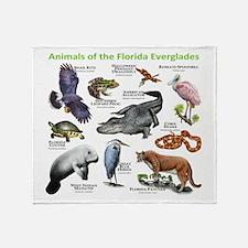 Animals of the Florida Everglades Throw Blanket