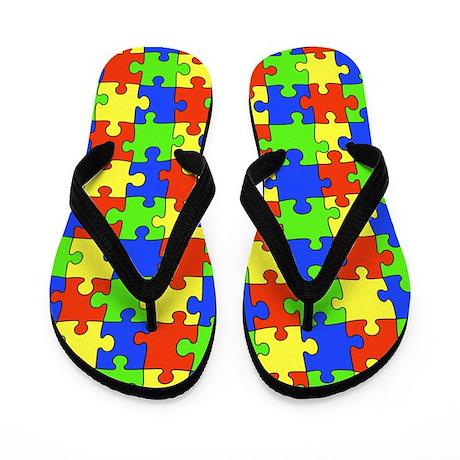 Autism Puzzle Flip Flops