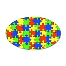 Autism Puzzle 22x14 Oval Wall Peel