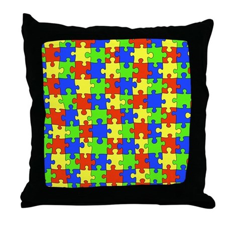 Decorative Pillow Cover Crossword Clue : Autism Puzzle Throw Pillow by fabuulous_gear
