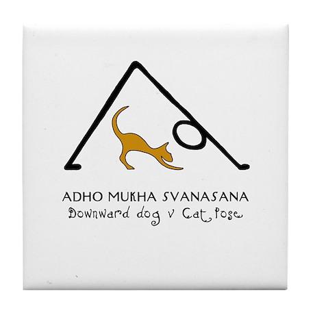 Downward Dog V Cat Pose Tile Coaster
