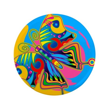 "Retro Psychedelic Butterfly 3.5"" Button"