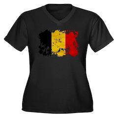 Belgium Flag Women's Plus Size V-Neck Dark T-Shirt