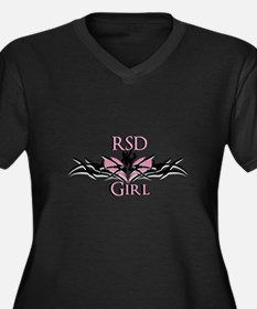 RSDgirl New Logo Women's Plus Size V-Neck Dark T-S