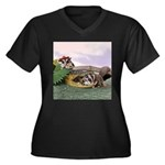 Crocodile #2 Women's Plus Size V-Neck Dark T-Shirt