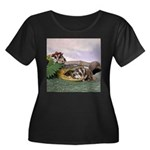 Crocodile #2 Women's Plus Size Scoop Neck Dark T-S