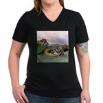 Crocodile #2 Women's V-Neck Dark T-Shirt